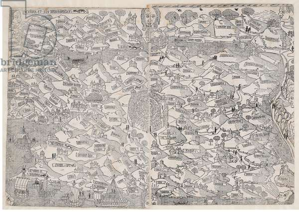 Map of the Holy Land, from 'La mer des hystoires' by Vincent Commin, 1488 (woodcut)
