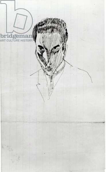 Portrait of Louis Aragon (1897-1982) (detail) c.1919 (pencil & ink on paper)