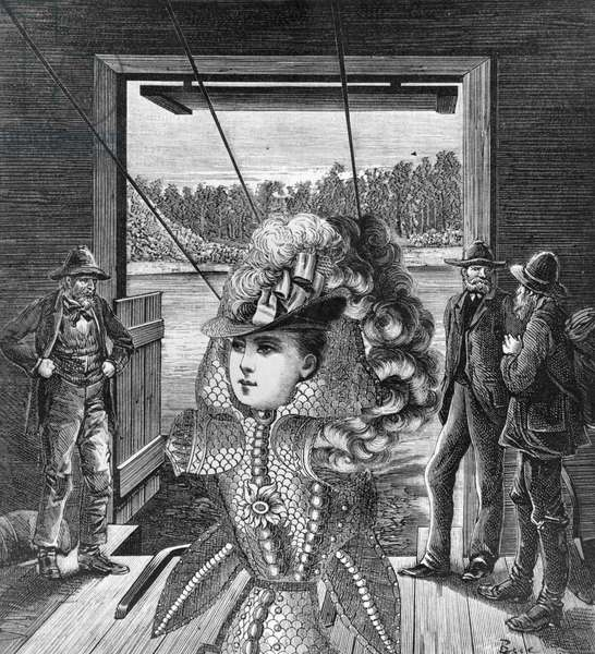 Disembarkment of the First Lady of Teremeraken (New Zealand) 1945 (collage on paper) (b/w photo)