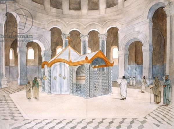 The Holy Sepulchre within the Rotunda as it appeared during the Byzantine period, proposed reconstruction (w/c on paper)
