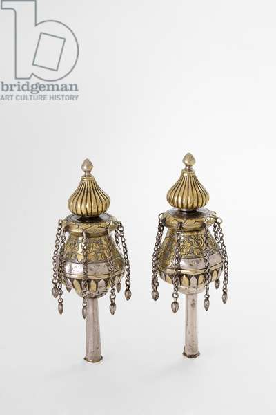 Torah finials, 1888 (silver, repousse, engraved and punched)