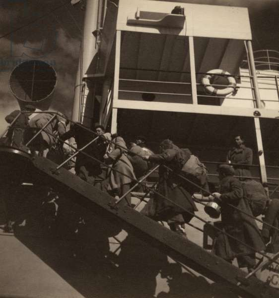 Immigrants boarding a ship, Cyprus, 1940s (b/w photo)