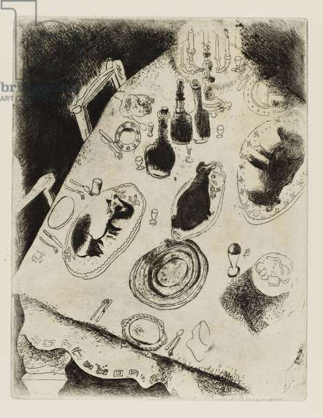 We go to the table or at Kabotievich's. Procession to the Dining Room (Dead Souls, Plate XXXIV, Volume I)