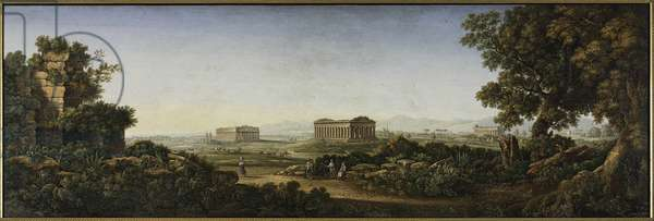 The Ruins of Paestum, 1805-30 (micromosaic)