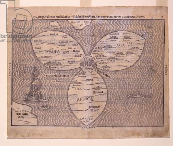 World in a clover leaf, 1581 (woodcut)