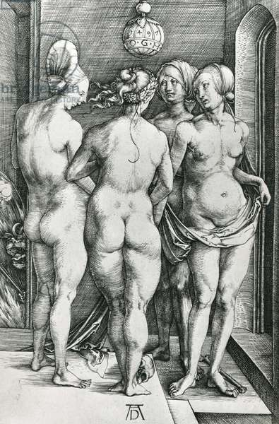 The Four Witches, 1497 (engraving) (b/w photo)