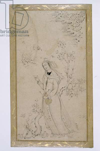 Young Lady in a Garden, from Isfahan (ink on paper)