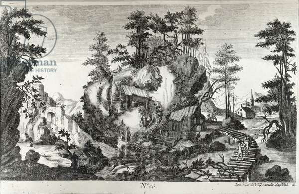 Anthropomorphic Landscape (engraving & etching) (b/w photo)