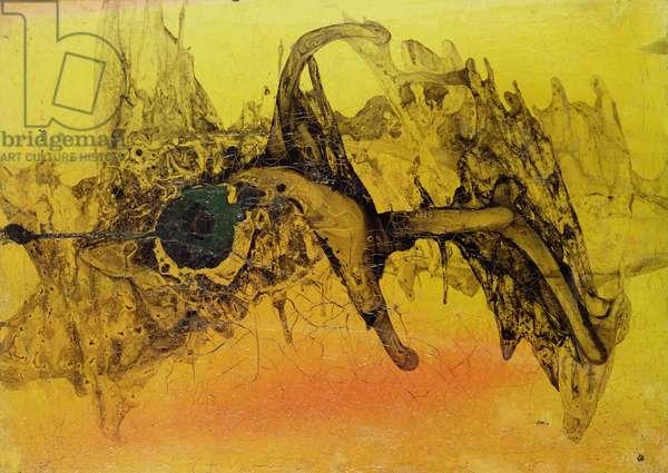 Spacial, 1952 (mixed media on masonite)