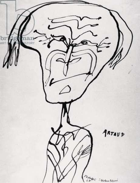 Portrait of Antonin Artaud (1896-1948) 1947 (ink on paper)
