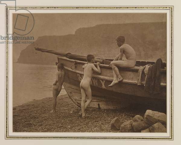 Three Naked Boys Around a Coble, 1880s (carbon print)