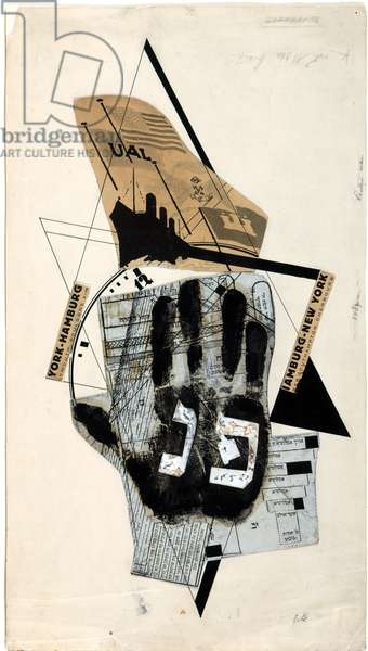 'Sihfs Karta' (Boat Ticket) an illustration from 'Six Stories with Easy Endings' by Ilya Ehrenburg (1891-1967) 1922 (collage with Indian ink)