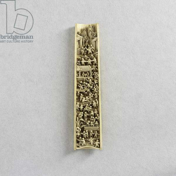 Wrist rest carved with '100 children at play', Canton (ivory)