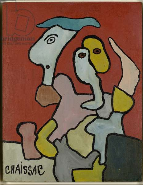 Composition with two faces on a red background, 1960 (oil on carton-board)