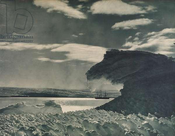 The S. Y. Aurora at Anchor, 1911-13 (aqua-toned carbon print)