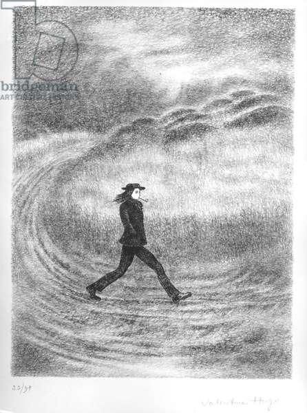 Portrait of Arthur Rimbaud (1854-91) (litho)