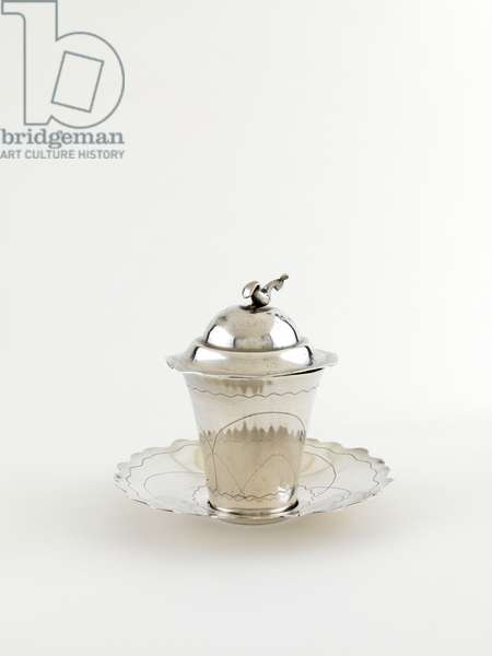 Kiddush cup and saucer (engraved silver)