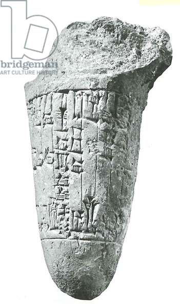 Inscribed foundation peg dedicated to the Dog Temple of Ninisina by Enlibani ruler of Isin, Sumar (clay)