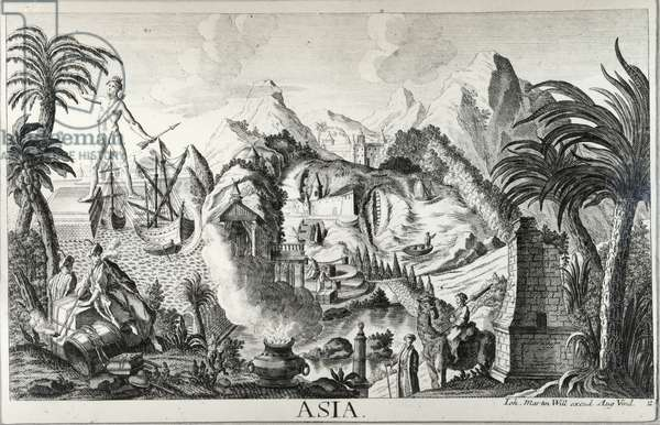 Asia (Anthropomorphic Landscape) (engraving & etching) (b/w photo)