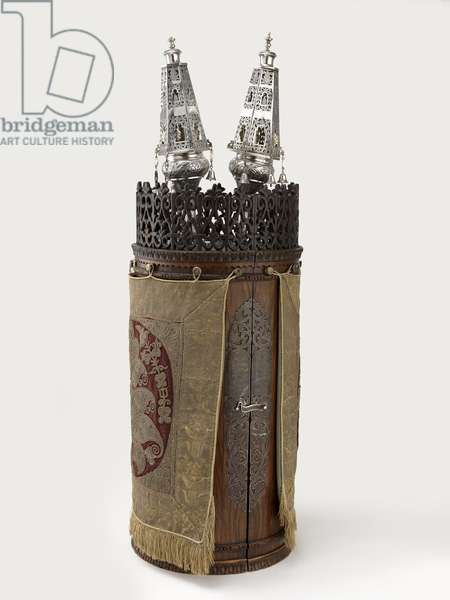 Raccah family Torah scroll case and ornaments, early 20th century (wood, silver, silk velvet and gold thread)