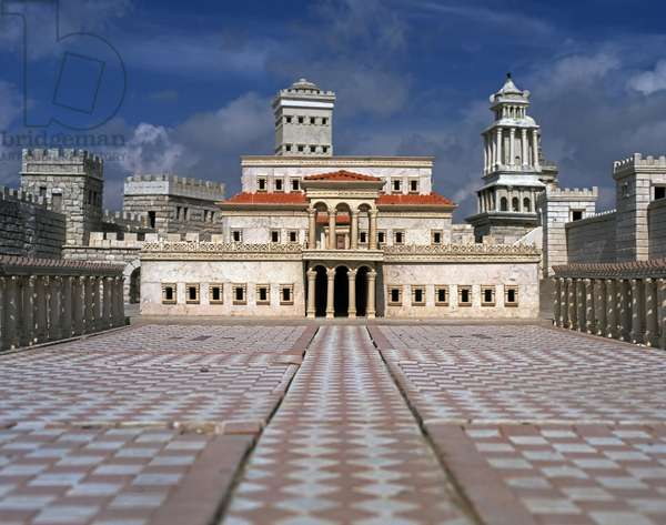 Model reconstruction of Herod's Palace in Jerusalem in 66 AD showing the view from within the courtyard with the towers of the Citadel visible in the background (photo)