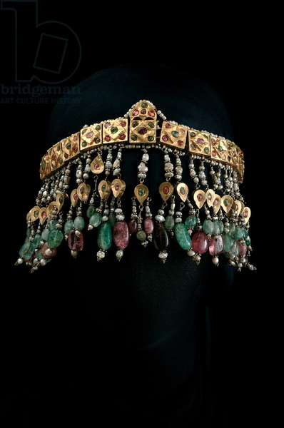 Head ornament (balgak), Bukhara (gold, bitumen, pearls, emeralds, rubies & tourmalines)