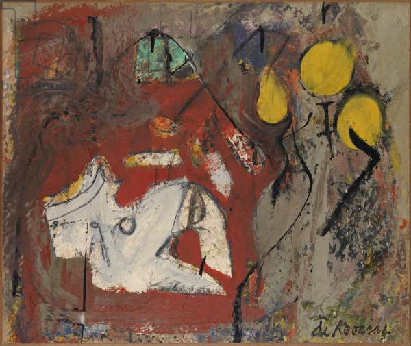 Interior, 1945-46 (oil on paper on canvas)