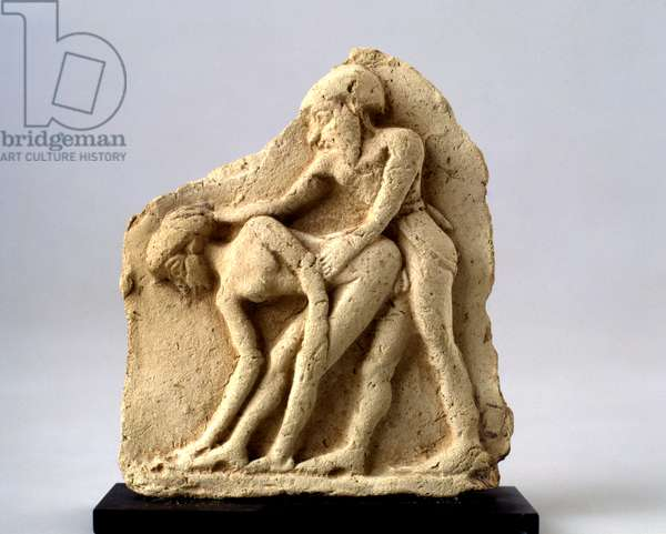 Plaque depicting sexual intercourse between a man and a woman, Middle Bronze Age (terracotta)