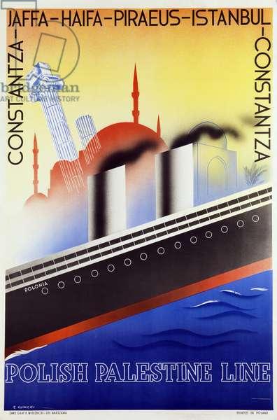 Poster advertising the Polish Palestine Line, c.1933 (colour litho)