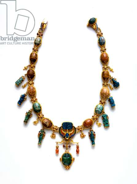 Victorian necklace with Ancient Egyptian scarabs and amulets (gold & faience)
