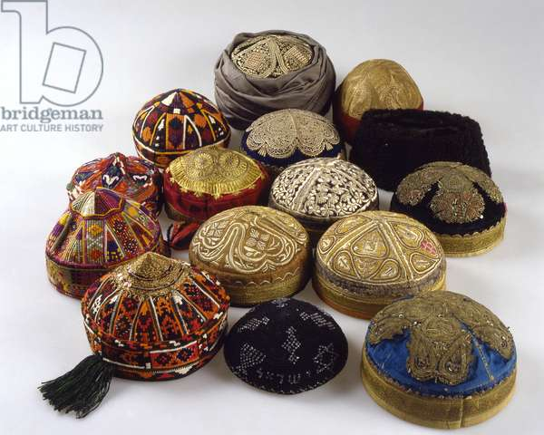 Men's skullcaps, from Herat, Mazae-e Sharif and Kabul, from early twentieth century to 1970 (velvet, gold embroidery, cotton, silk, karakal fur and glass beads)