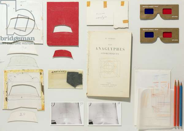 Preliminary studies and tools for Cheminee anaglyphe, 1968 (mixed media)