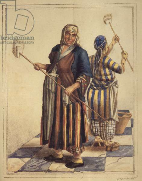 Jewish Women, from Izmir, Whitewashing, 1830 (hand-coloured litho)