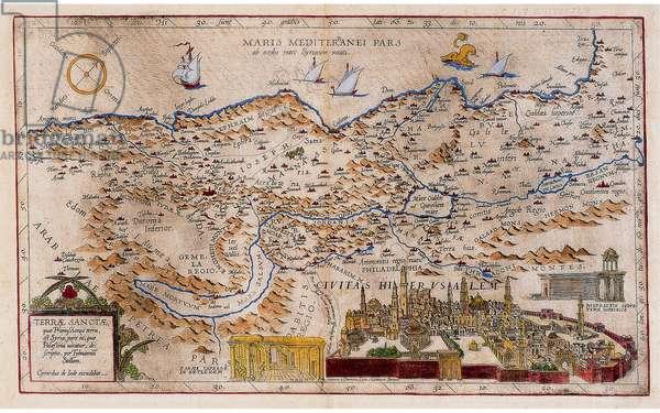 Terra Sanctae qua Promissionis terra..., 1578 (hand-coloured etching)