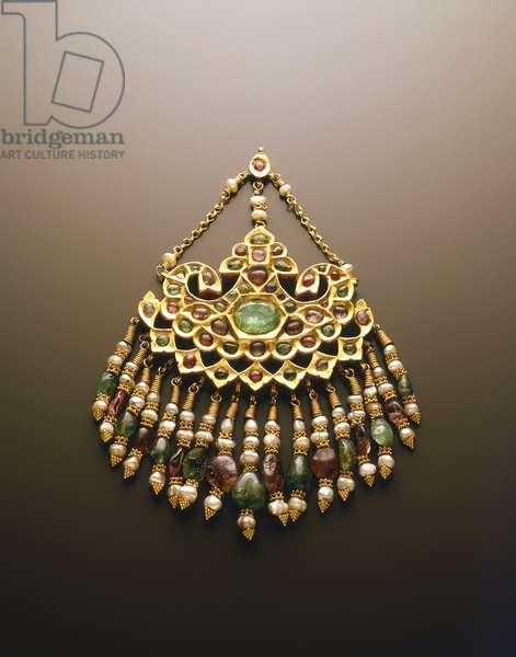 Adornment for Forehead (gold & semi-precious stones)