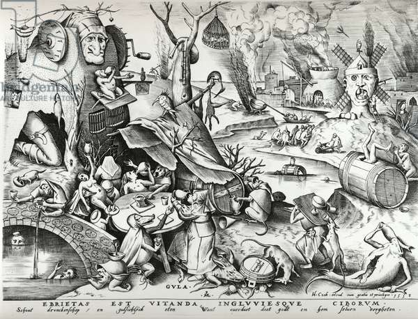 Gluttony, from The Seven Deadly Sins, engraved by Pieter van der Heyden (c.1530-72) 1558 (etching & engraving) (b/w photo)