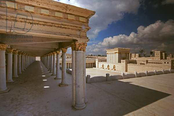 Model reconstruction of the Temple from a corner of the Basilica looking nortwest (photo)