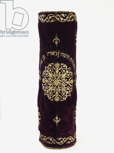 Torah mantle, late 19th - early 20th century (silk velvet, gilt metal-thread embroidery and sequins)