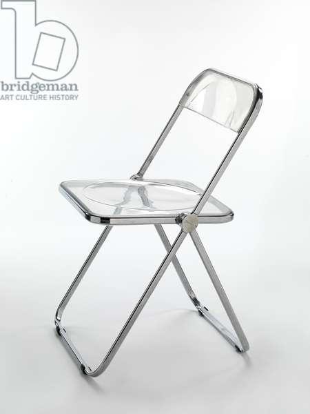 Plia folding chair, 1968-69 (bent chromium-plated stainless steel & molded acrylic resin)