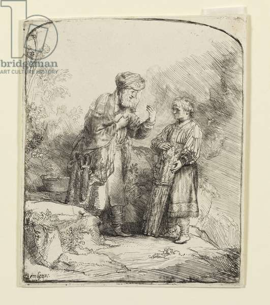 Abraham and Isaac, 1645 (etching)
