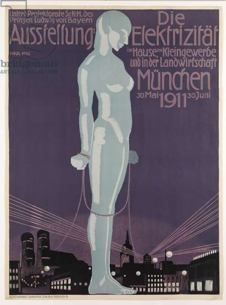 Poster advertising the 'Electricity Exhibition', Munich, 1911 (colour litho)