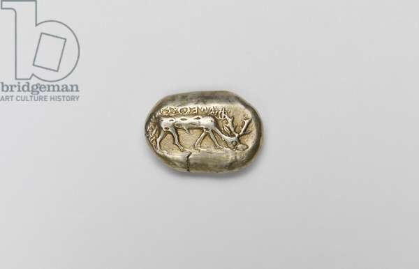Coin with stag, Western Turkey, late 7th- early 6th century BC (electrum) (obverse of 403301)