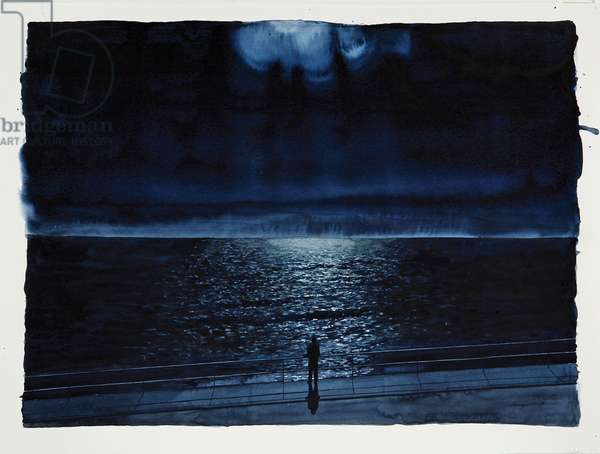 Figure Watching the Moon, 2006 (w/c on paper)
