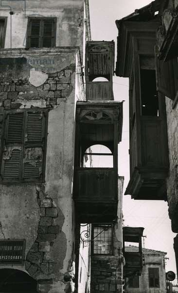 Remains of the Ghetto in Rhodes, 1962 (b/w photo)