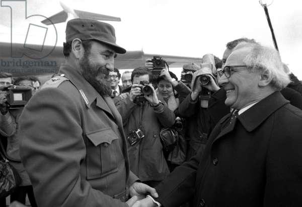 Fidel Castro et Erich Honecker