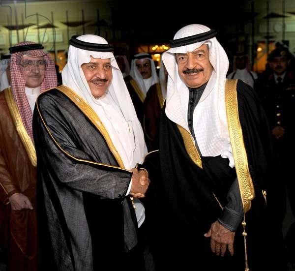 Nayef bin Abdelaziz bin Abderrahmane Al Saud and Khalifa bin Salman Al Khalifa