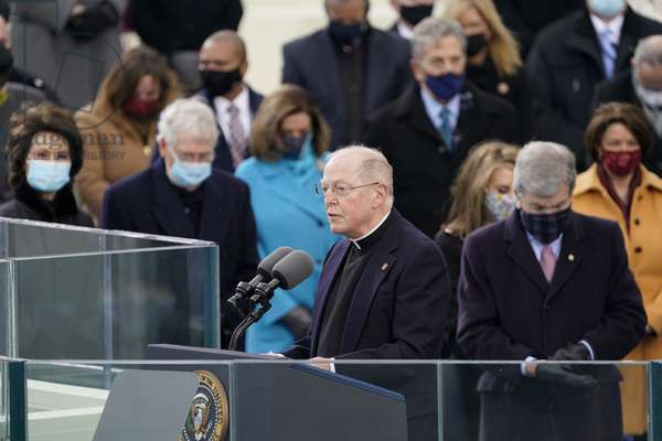 Father Leo J. O'Donovan delivers the Invocation prior to US President Joe Biden, Washington, DC. (photo,2021)