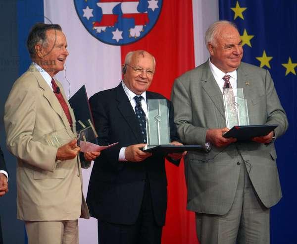 George Bush, Mikhail Gorbatchev et Helmut Kohl