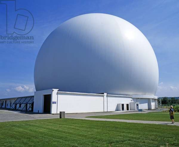 The Radome is the imposing white radar dome station for space communication in the planetarium of the