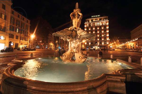 Triton Fountain in Piazza Barberini at night Italy Rome Fontana del Tritone on Piazza Barbe